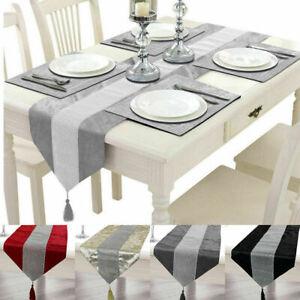 Crushed Velvet Table Runner Mats Bling Diamante Striped Wedding Party Home Decor