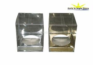 GOLD SILVER TRANSPARENT CLEAR CUPCAKE MUFFIN HOLDER BOX WEDDING FAVOUR GIFT 80mm