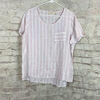 Christian Siriano Women's 100% Linen Pink White Striped Short Sleeve Top Sz M