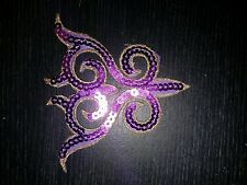 Violet sequin broderie patch dentelle applique motif robe irlandais danse costume