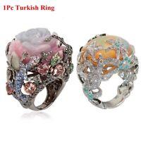 Party Rhinstone Peony Flower Ring aus Silber -Reben Türkisch Natürlicher Stein