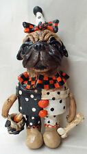 Folk Art Vintage Style Pug Halloween Trick or Treat Dog Doll Ooak Whimsical