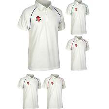 Gris para Hombre Nicolls Matrix Transpirable Cricket Camiseta de Manga Corta