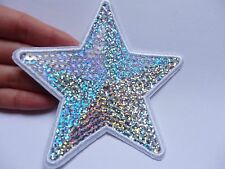 large sequin patches silver star patch applique iron on sew motif sewing craft