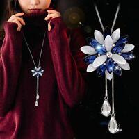 Damen Halskette Schmuck Collier Anhänger Silber lange Kette Mode 75cm Luxus