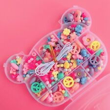 Cute Pastel Bead Jewellery Making Kit & Kawaii Bear Case Fairy Kei Bracelet Set