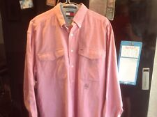 Vintage Tommy Hilfiger Mens Casual Shirt MEDIUM Long Sleeve Oxford Pink