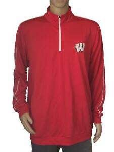 Wisconsin Badgers Colosseum Red 1/4 Zip Up Pullover LS Performance T-Shirt (L)