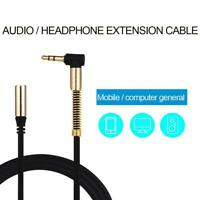3.5mm 90 Degree Jack Right Angle Male To Female Audio Aux Cable Cord