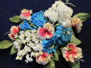 "Vintage Millinery Flower Vevet 1/"" Leaf Dark Blue Spray Hat Wedding or Hair IA12"
