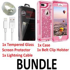 BUNDLE iPhone 8 Plus Glitter Liquid Case Belt Clip fits Otterbox Defender - Pink