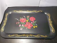 Vintage Handpainted Toleware Black Gold Rose Flower Floral Metal Tin Tray  14""