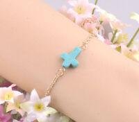 New Elegant Fashion Gold Plated Chain Blue Turquoise Cross Adjustable Bracelet