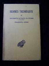 Corpus hermeticum Tome IV : Fragments extraits de Stobée XXIII. alchemy alchemie