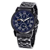Mens Black Metal Bracelet Watch Big Blue Roman Dial Multifunction Reloj Hombres