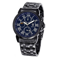 Mens Black Metal Bracelet Watch Big Blue Roman Dial Multifunction Reloj Hombres