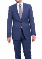 Mens 40L Calvin Klein Extreme Slim Fit Blue Pindot Two Button Wool Suit With ...