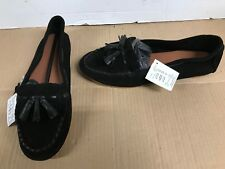 af4362f06a4 Ladies black leather Loafer tassels Slip On Shoe uk 8 eur 41 wx152 77548  flats