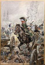 Maurice TOUSSAINT (1882-1974) MILITARIA Gouache SUPERBE! Empire Napoléon CHEVAUX