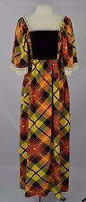 Vtg 60s Dress 60s Plaid Maxi Dress Festival Gypsy Empire Waist Dress S