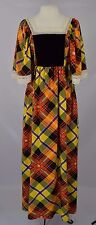 Vtg 1960s Dress 60s Vibrant Plaid Maxi Dress Festival Gypsy Empire Waist Dress S