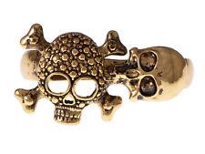 Golden Tone Alloy Death Bone & Skulls Head Scary Deadly Two Fingers Charm Rings