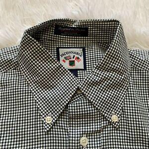 Mens Faconnable Button Up Dress Shirt Size Large Medium Plaids Black White