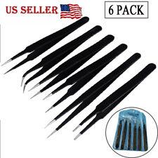 6 PCS High quality fine point multi purpose Tweezers set Steel Fine Tip Tweezers
