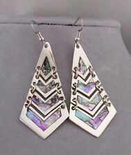 Long Alpaca Silver Abalone Shell Shutter Earrings Dangle Fashion Jewelry NEW