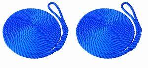 2 x 8 MTS OF 12MM ROYAL BLUE SOFTLINE MOORING ROPES / WARPS / LINES BOATS
