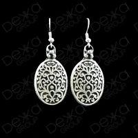 Silver Disc Oval Coin Drop Earrings Ottoman Turkish Ethnic Tribal Gypsy Boho