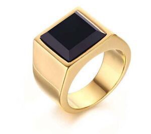Natural Black Onyx Gemstone 14K Yellow Gold Men's Ring SR8557