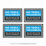 4 x No Tools Valuables Left In This Vehicle Overnight Stickers Van HGV - SKU5136