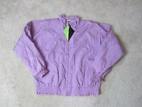 VINTAGE Puma Jacket Womens Small Purple Green Full Zip Windbreaker Coat 90s