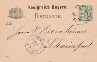 Postkarte verschickt von Bundorf nach Schweinfurt aus dem Jahr 1893
