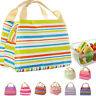 Thermal Insulated Lunch Bag New Stripe Water-proof Dacron Picnic Case Pouch