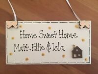 Personalised House Warming Gift Home Sweet Home Names Plaque Sign Wooden