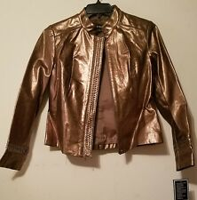 NWT Revue Women's Genuine Leather Jacket Antique Brass, Brown Gold sz M