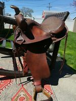 """western saddle 15"""" red Tex Tan 7"""" gullet"""