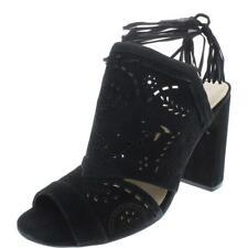 Ivanka Trump Womens Karah Black Suede Heels Sandals 8.5 Medium (B,M) BHFO 3230