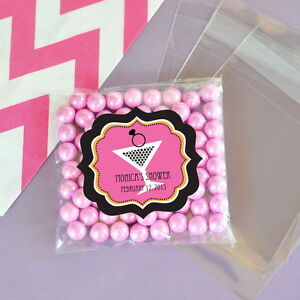 24 Bachelorette Party Personalized Clear Candy Bags Wedding Bridal Shower Favors