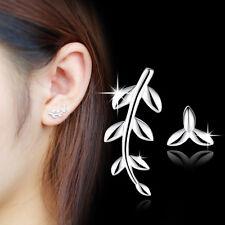 Charm Tree Leaf 925 Sterling Silver Stud Earrings Fashion Women Girls Jewelry