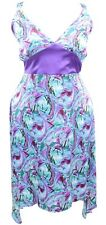 16-26 Sexy V Neck Stretch Satin Green Print Strappy Dress 2 Point Hem Ladies