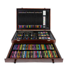 142-Piece Art Drawing Set Artist Sketch Kit Paint Pencil Pastel Wood Case Box