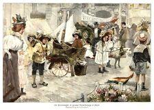 Knokke-Heist, Belgien, Kinder-Festzug, Farbholzstich von ca. 1890