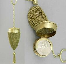 Unusual Round ANTIQUE 14K Gold MESH CHANGE PURSE w/Finger Ring or Pendant 23.9g