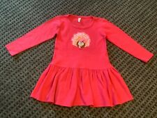 Fuchsia hot pink embroidered appliqué Thanksgiving turkey dress 4T