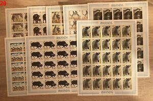 / 25X RWANDA - MNH - ANIMALS - ZEBRA - FULL SHEETS