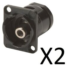 (2 Pack) Switchcraft EHRCA2BX RCA Panel Mount Feed Thru Jack Connector, Black