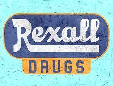 "TIN SIGN ""Rexall Drugs Blue"" Pharmacy Art Deco Garage Wall Decor"